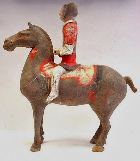 Han Dynasty Painted Pottery Horse and Rider, c206 BC to 220 AD