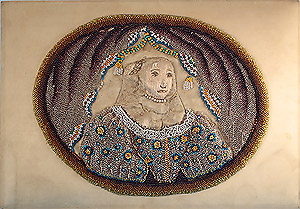 17th Century Stumpwork & Beadwork Portrait on Silk