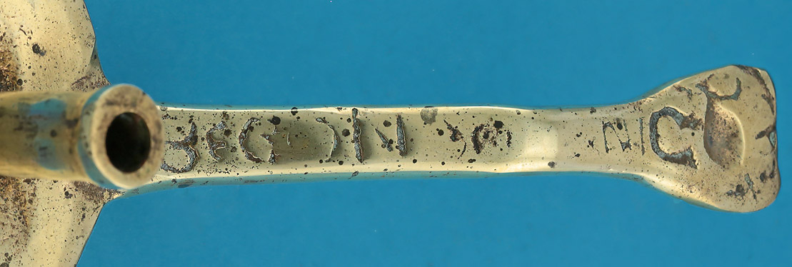 17the Century Scottish Brass Chamberstick, inscribed 'BEGONE', Est. Dating c1680, inscription