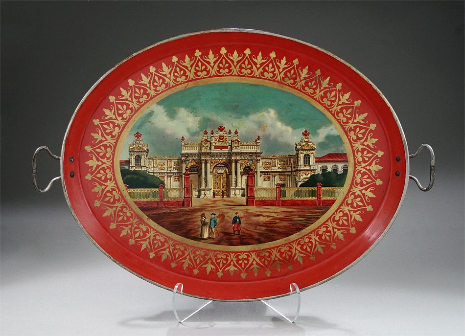 Russian Tole Tray on Stand