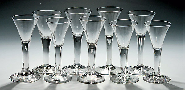 Spirits wines m ford creech antiques - Wine glasses with thick stems ...