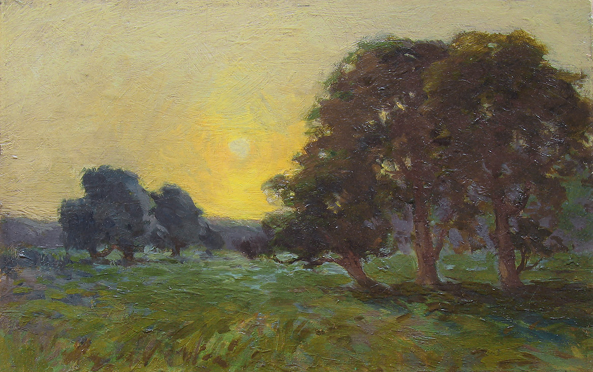Arthur Wesley Dow, Meadow at Sunset, Oil on Board