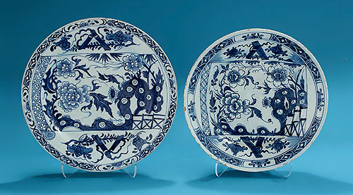 Bow Porcelain Blue & White Scroll Plate, and Dublin Delft after the Bow,  exhibited English Ceramic Circle 1948