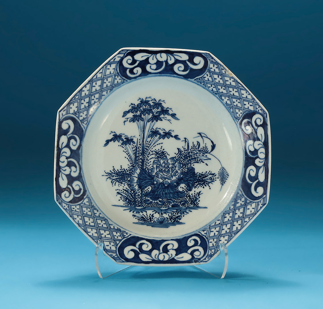 Bow Soft Paste Porcelain Bluel & White Dessert Dish, England, c1760