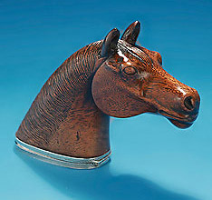 Fine Silver-Mounted Carved Mahogany Snuff Box, England, mid 19c, in the form of a horse's head