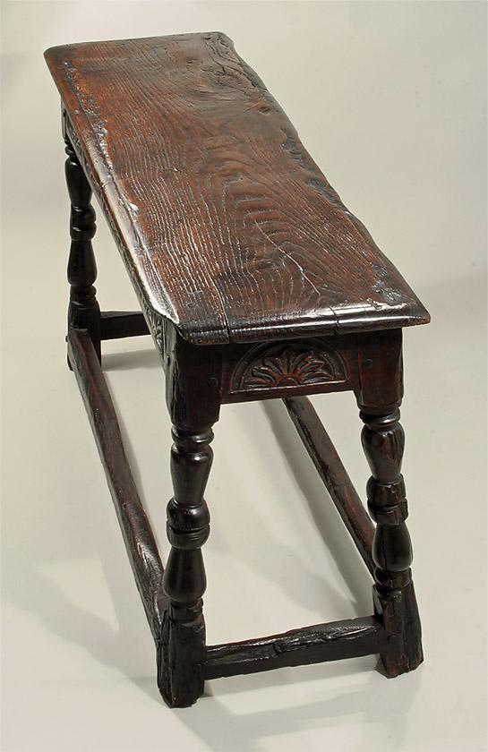 Rare Charles Ii Carved Oak Long Stool England Mid 17th