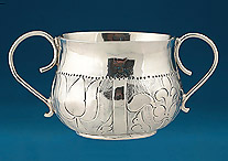 "Charles II Miniature (""Toy"") Silver Porringer, London 1671, M N a crescent below within a heart"