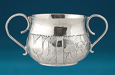 Charles II Silver Miniature (Toy) Porringer, M N crescent below within a heart, London, 1671