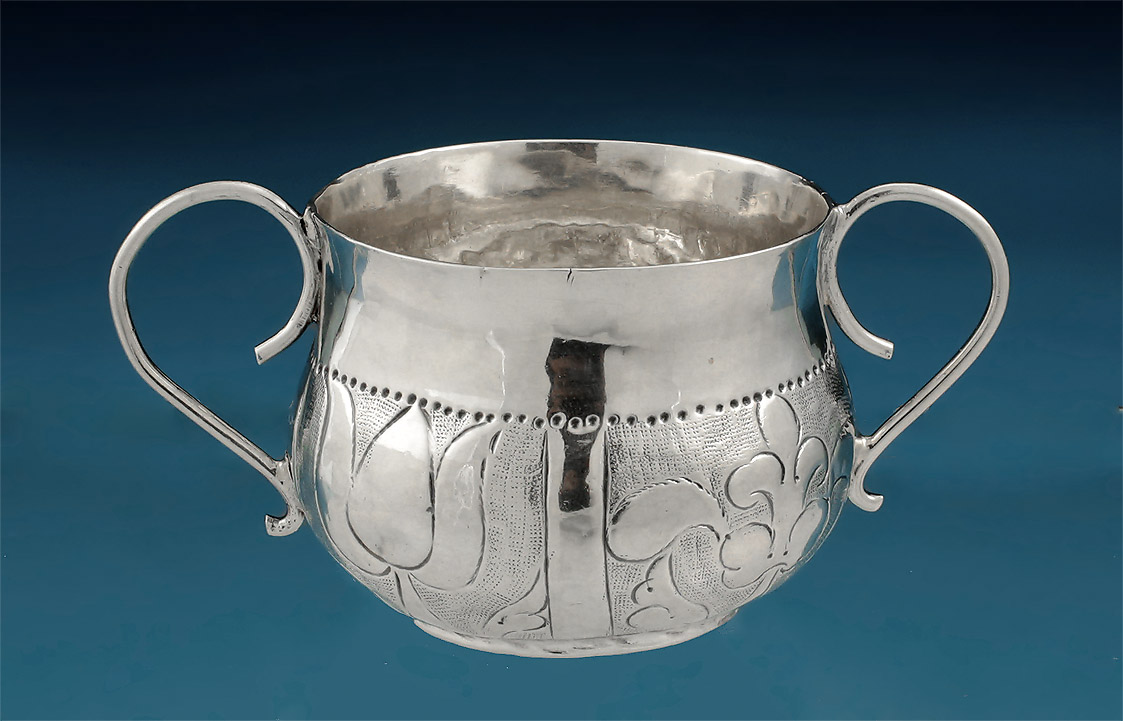 Charles II Miniature (Toy) Silver Porringer, 1671,back side with rim repaired splits