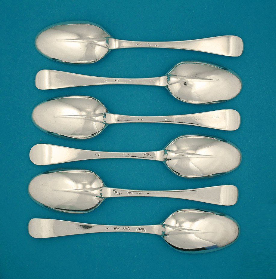 Rare Set of 6 Paul de Lamerie Dessert Spoons, c1720