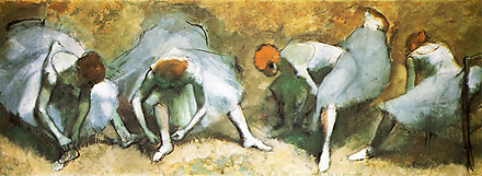 Edgar Degas, Dancers Tying Shoes, Oil on Canvas, 1883, Cleveland Museum of Art, Cleveland, OH, USA