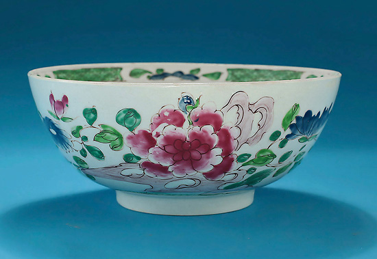 Early Bow Porcelain Famille Rose Large Bowl, c1753