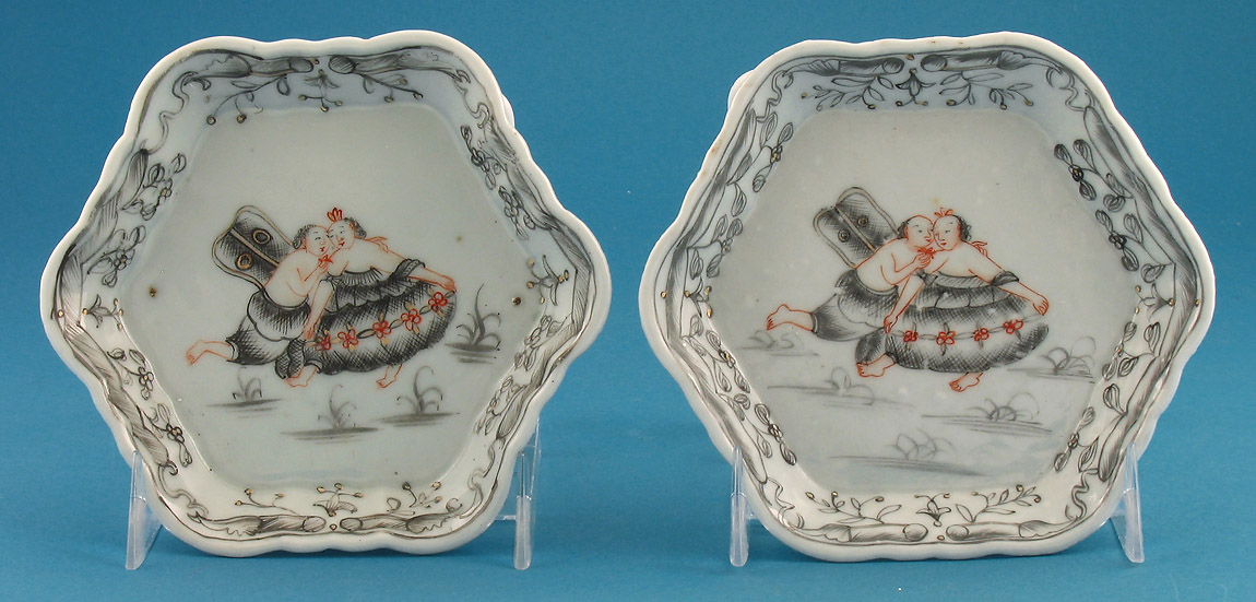 RARE PAIR OF CHINESE EXPORT MYTHOLOGICAL TEAPOT STANDS, c1740