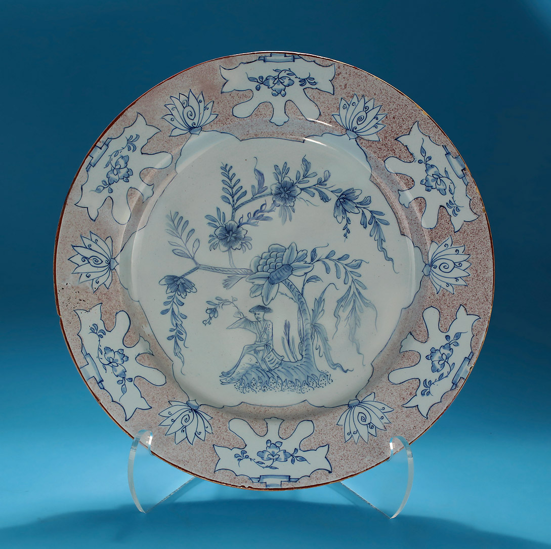 "ENGLISH DELFT MANGANESE & BLUE ""WOOLSACK"" CHARGER"