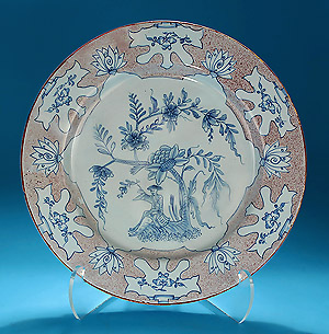 "English Delft Manganese and Blue Woolsack Charger, 14-1/8"" Diameter"