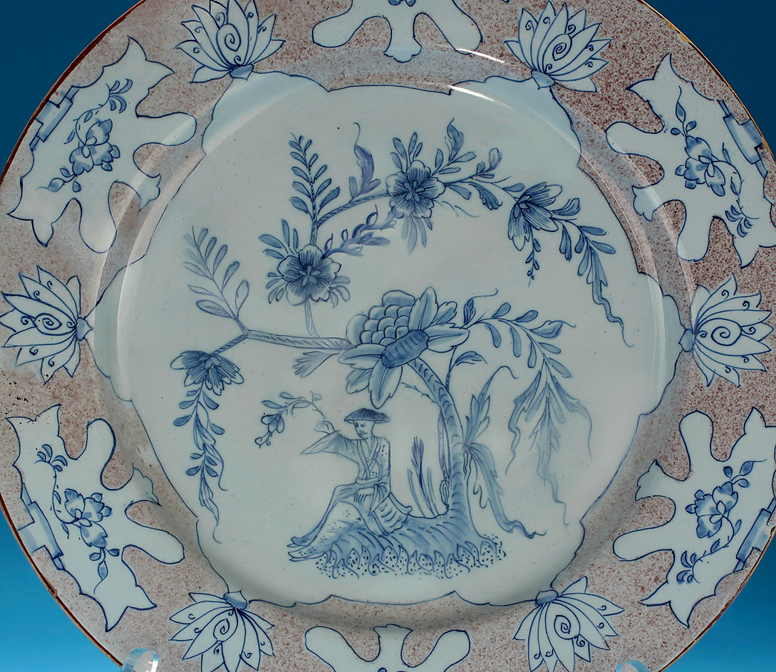 "Good English Delft Manganese & Blue ""Woolsack"" Charger, center detail"