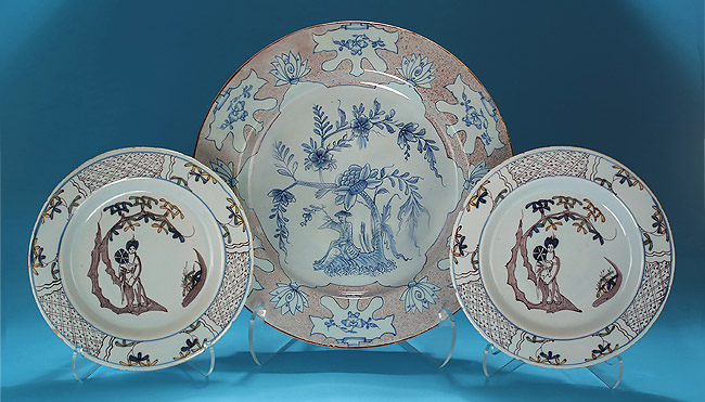 Pair English Delft in Manganese and Polychrome, Bristol, 1740-50, and a English Delft Woolsack Charger in Manganese and Blue,  Probably Liverpool c1745-55