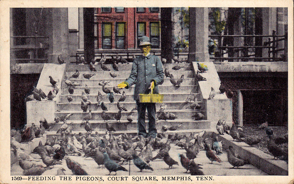 Memphis Court Square, 1917, Feeding the Pigeons