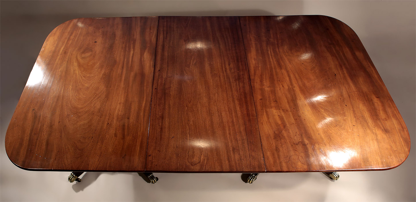 Fine George III Cuban Mahogany 2-Pedestal Dining Table, Top, shown with one leaf