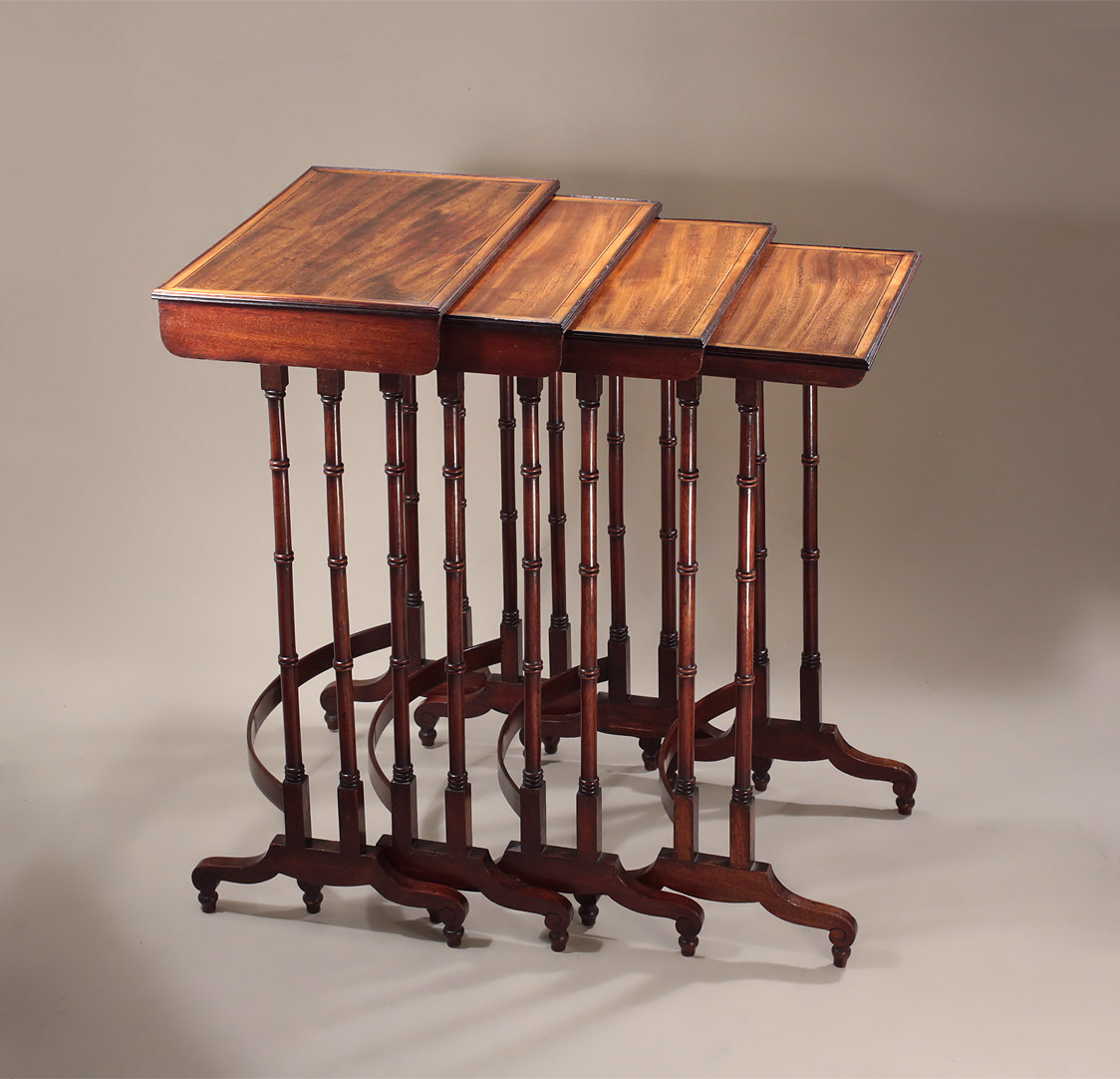 fine george iii rosewood u0026 mahogany quartetto nest of tables manner george smith c1810 m ford creech antiques