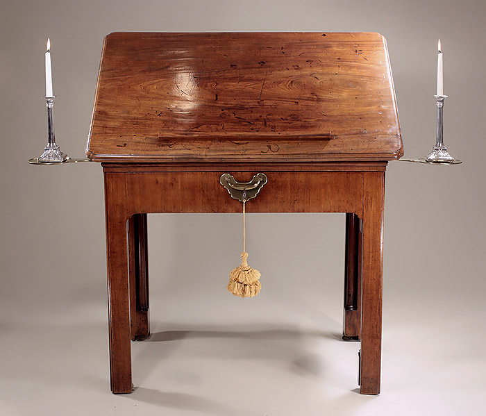 Fine George II Faded Mahogany Architects Table & Writing Desk, c1750