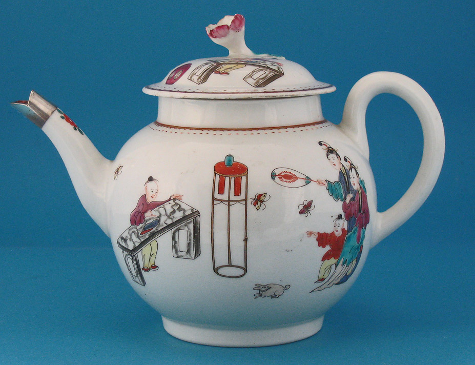 First Period Worcester Teapot & Cover, Chinese Family, c1760-65