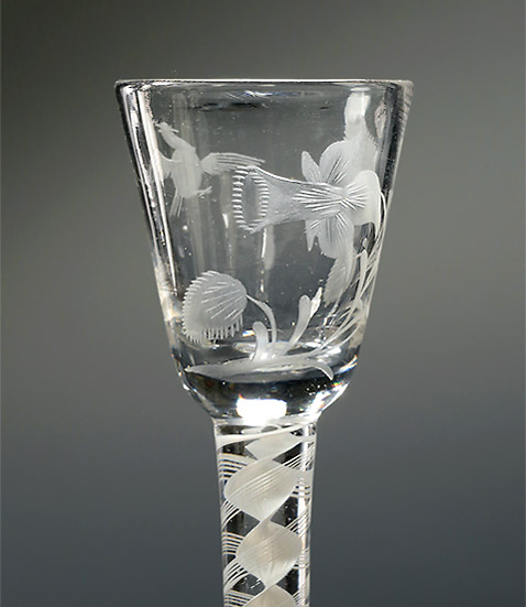 Jacobite Interest Engraved Cordial Glass, Daffodil & Bird in Flight, England, c1765 , bowl with daffodil