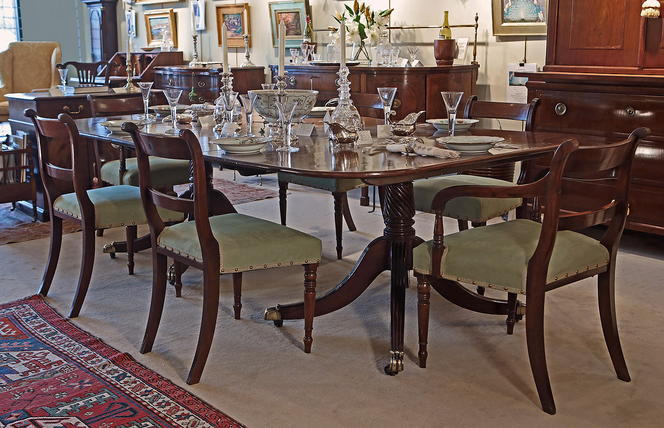 Fine George III Cuban Mahogany 2-Pedestal Dining Table, England, c1800, on original pedestal Table, shown with set of 6 Georgian Regency chairs