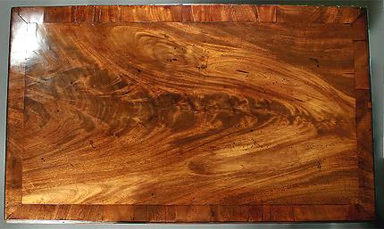 Highly Figured George II/III Mahogany 2 Drawer Side Table,