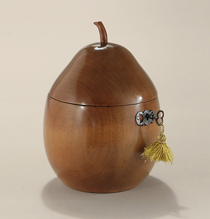 George III Pear Form Tea Caddy, England, c1790-1810, retaining original key