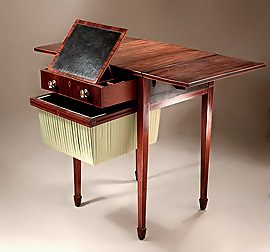 Fine George III Inlais Rosewood Work Table with Writing Slope, England, c1795