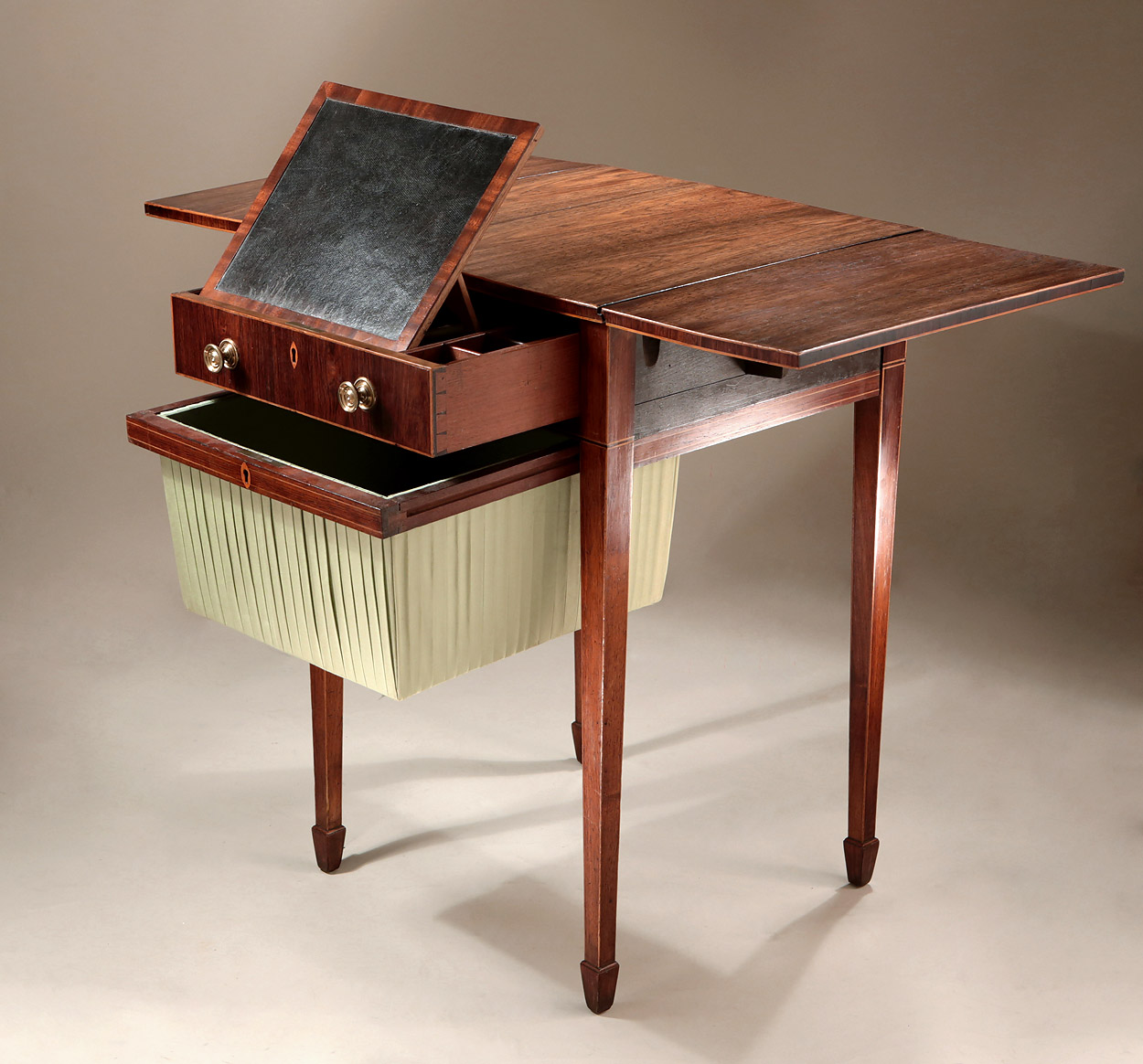 Fine George III Inlaid Rosewood Work Table with Writing Slope, England c1795