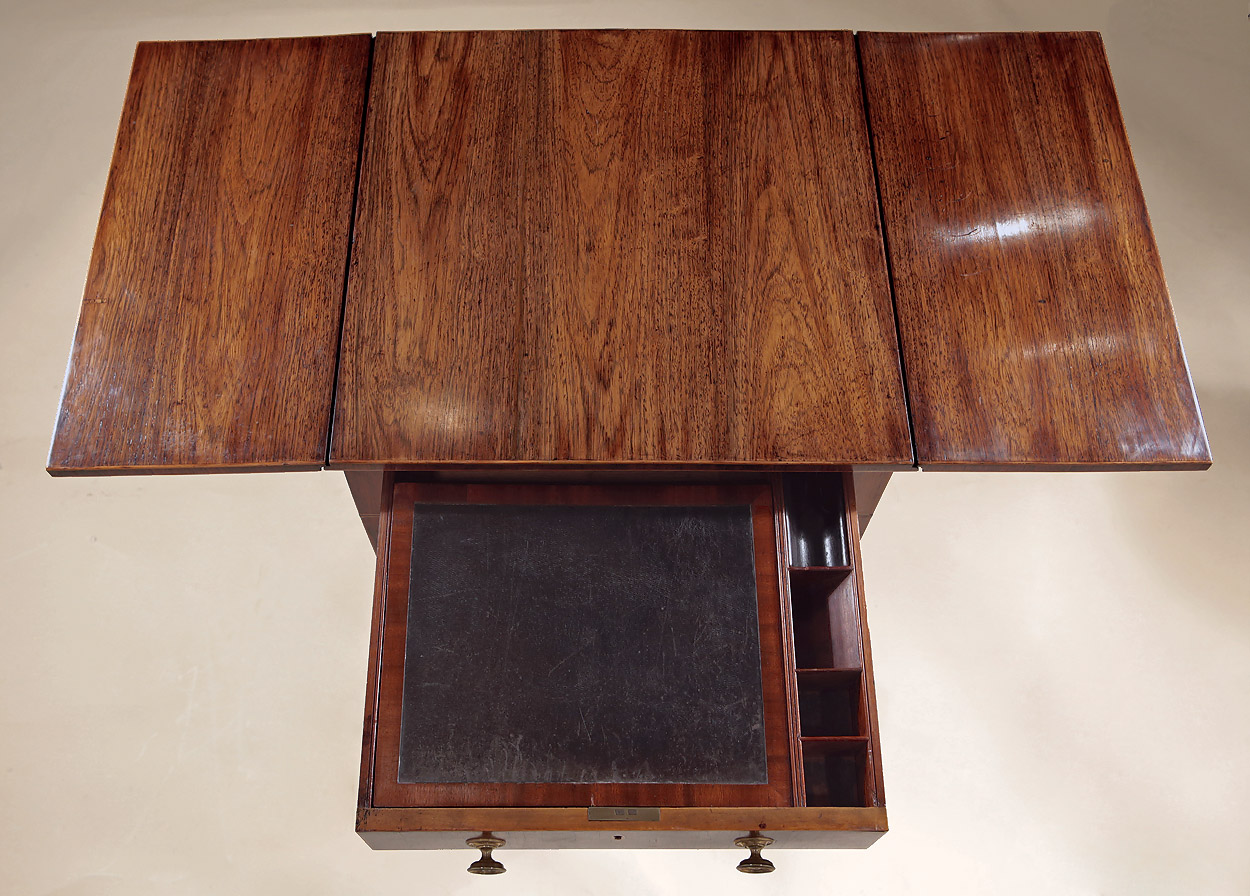 Fine George III Inlaid Rosewood Work Table with Writing Slope, England c1795, showing the top open with rich grain and original finish