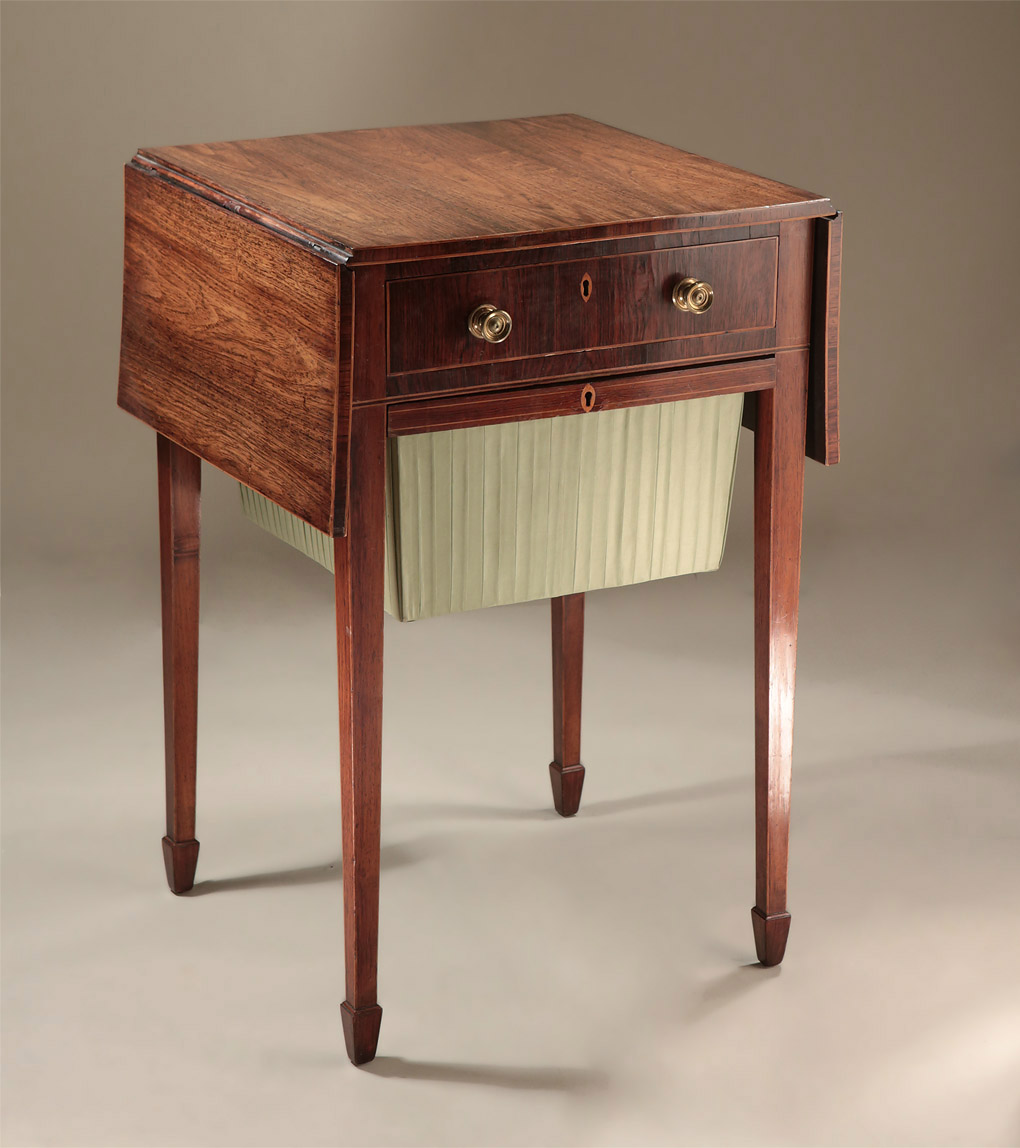 Fine George III Inlaid Rosewood Work & Writing Table, closed position