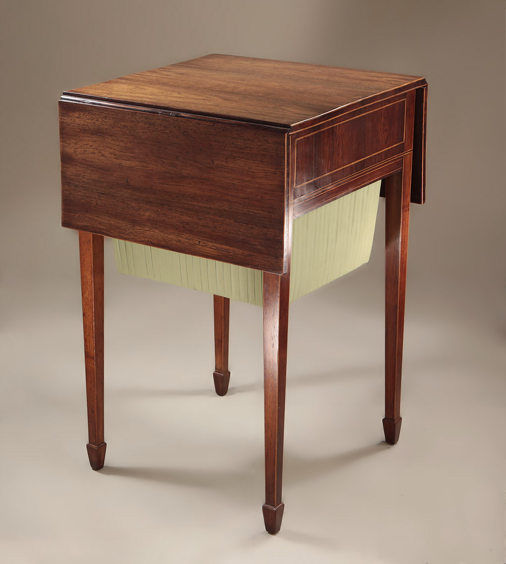 Fine George III Inlaid Rosewood Work & Writing Table, closed, reverse side