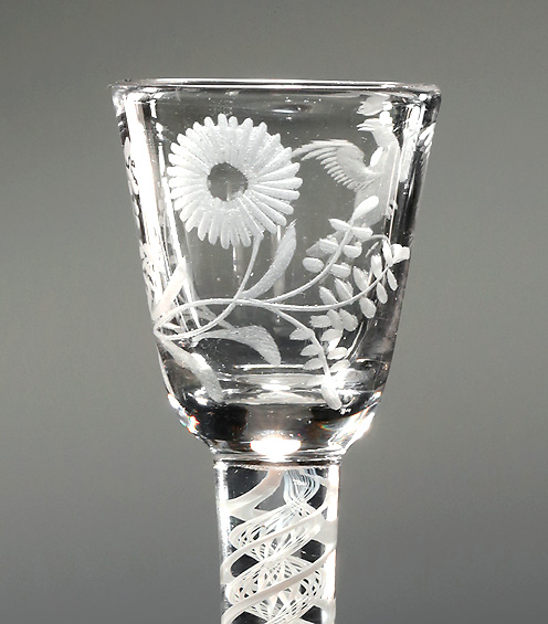 Jacobite Interest Engraved Cordial Glass, Sunflower & Bird in Flight, England, c1765 , bowl with sunflower