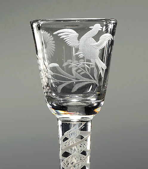 Jacobite Interest Engraved Cordial Glass, Sunflower & Bird in Flight, England, c1765, bowl with bird in fligfht