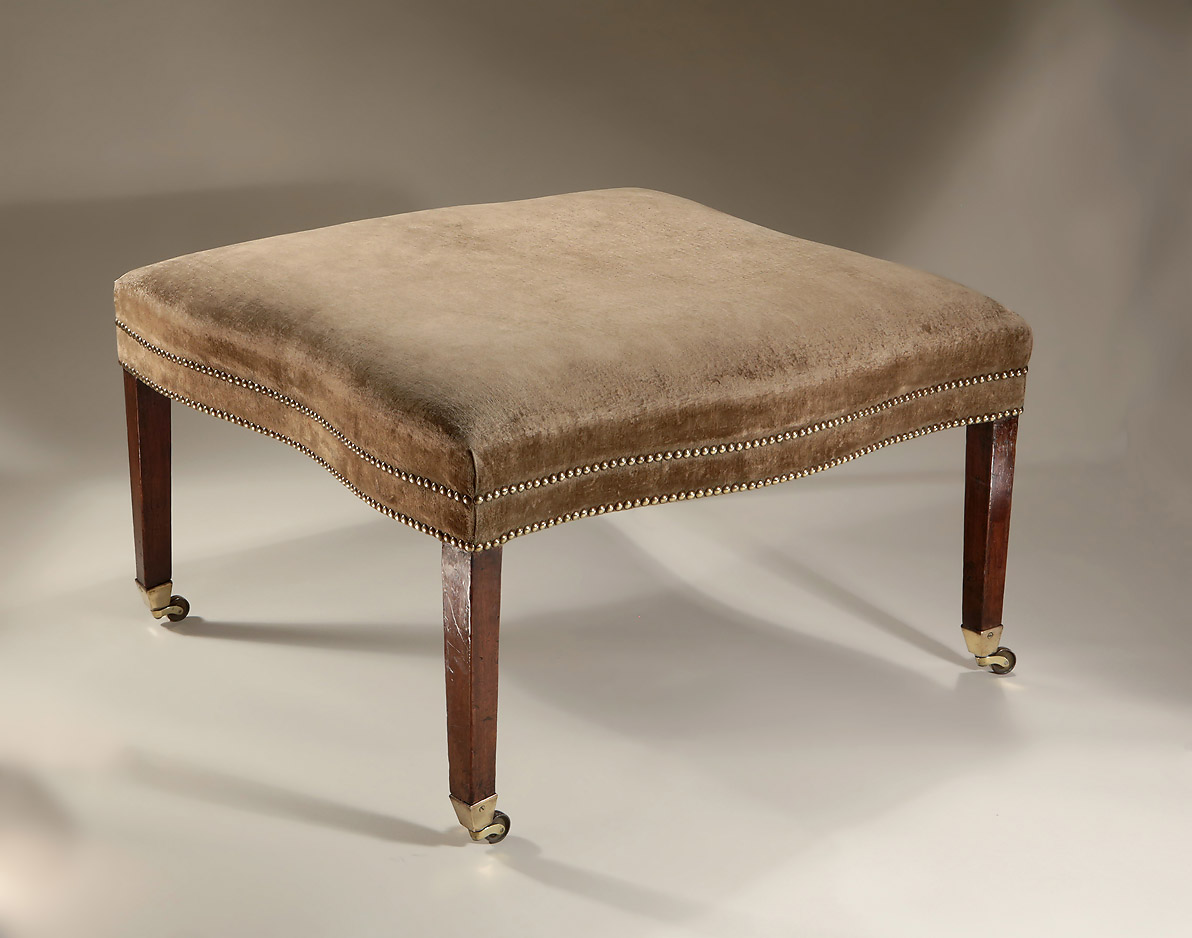 George III Large Upholstered Serpentine Stool, England, c1775