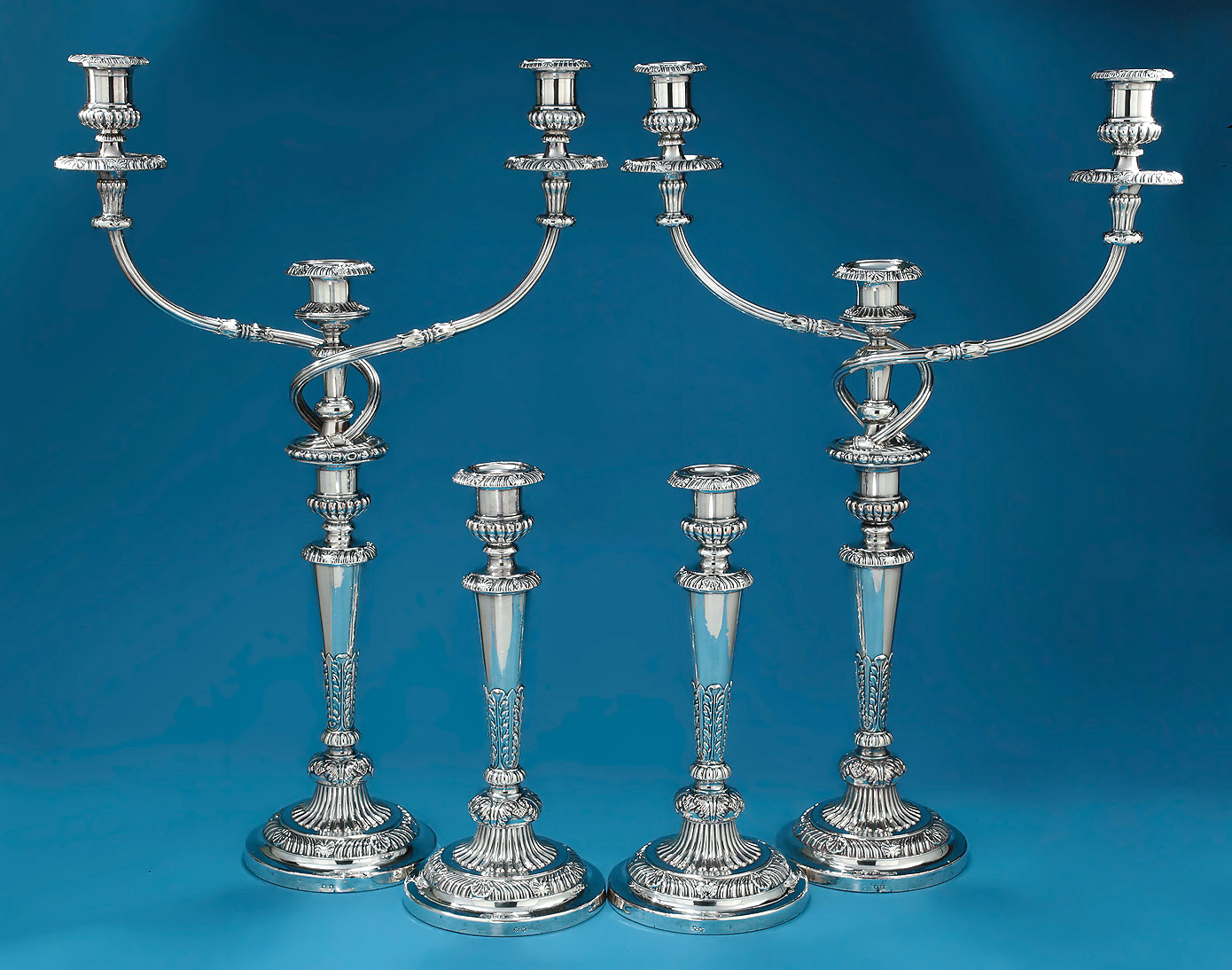 George III Set Old Sheffield Plate 3-Light Candelabra & Candlesticks, Matthew Boulton