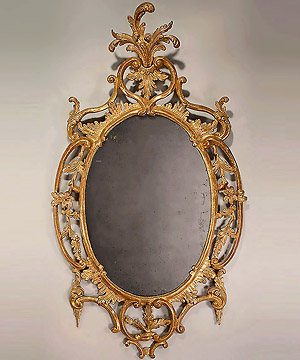 George II Carved Oval Giltwood Mirror, c1755