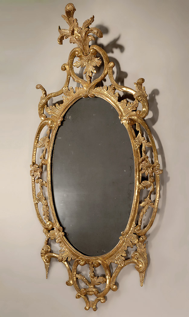 George II Carved Oval Giltwood Mirror, England, c1755