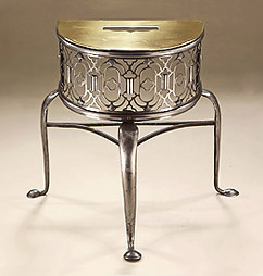 Good George II Demi-Lune Brass & Steel Hearth Trivet (Footman), England, c1750