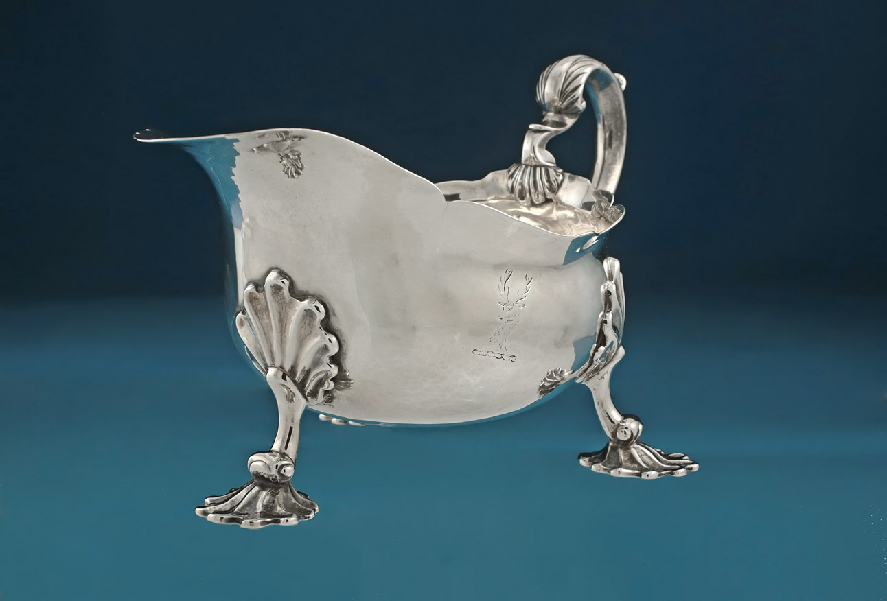 George II Silver Sauceboat, Shaw & Preist, London, 1757, crested