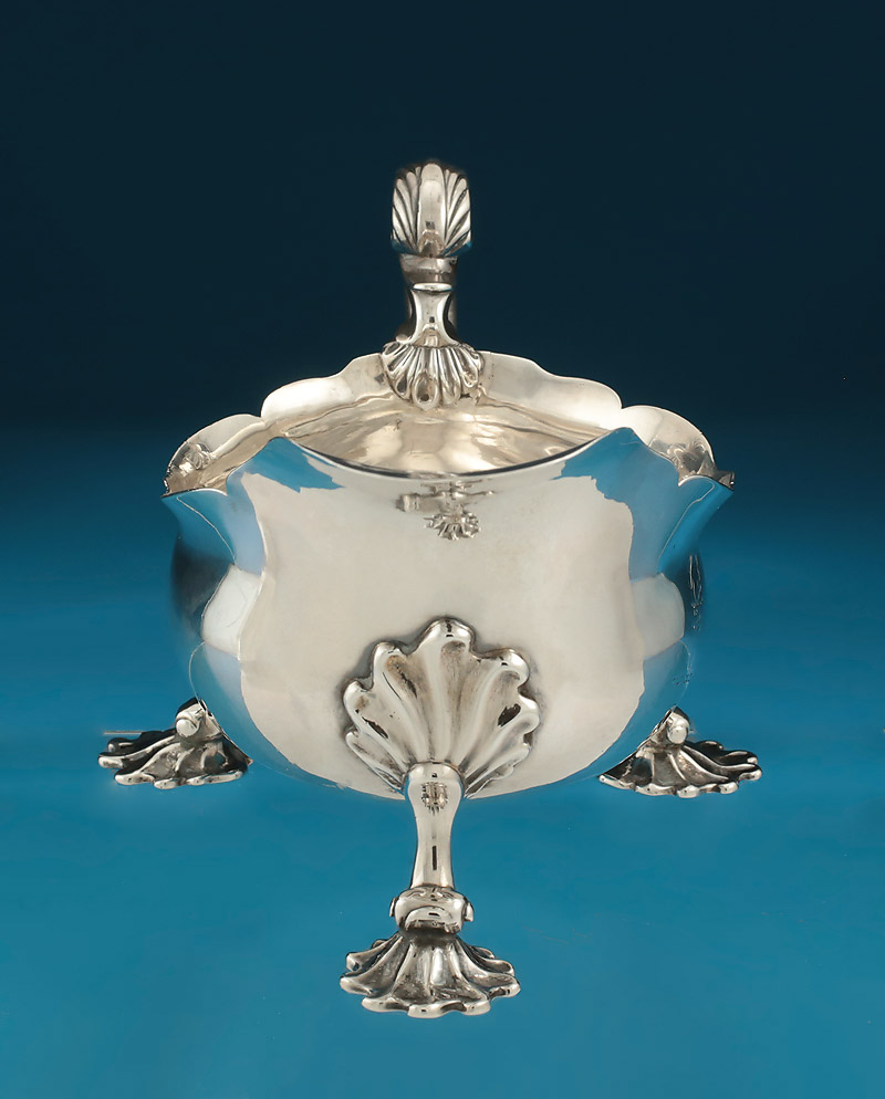 George II Silver Sauceboat, Shaw & Preist, London, 1757, crested,spout