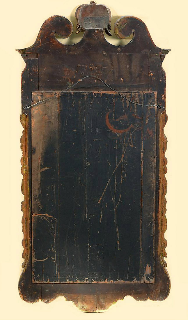 George II Walnut Veneer & Parcel Gilt Mirror, England, c1730, verso backboards