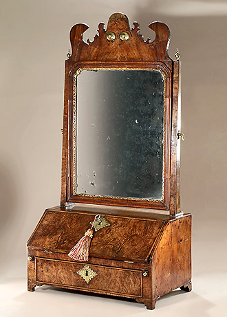 George I Burr & Straight Grain Walnut Dressing Table Mirror & Bureau