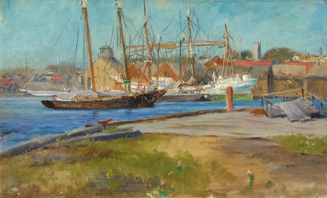 George Loftus Noyes, A Blue Day Gloucester, oil on canvas