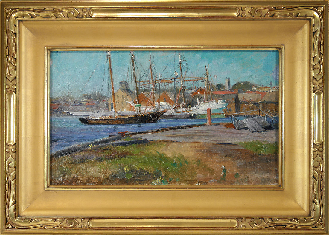 George Loftus Noyes, A Blue Day Gloucester, framed