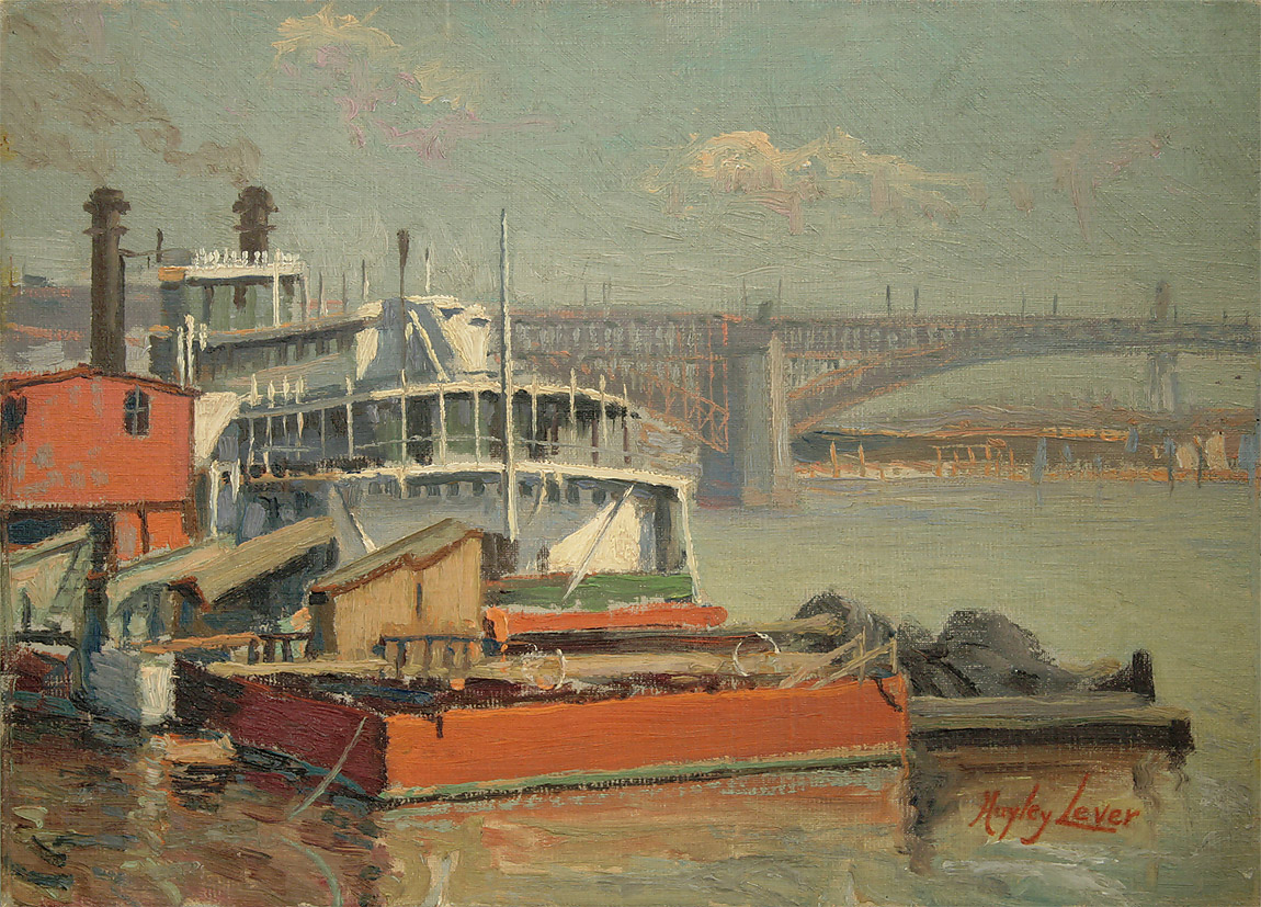 """PADDLE STEAMER MARK TWAIN, MISSISSIPPI RIVER EADS BRIDGE AT ST. LOUIS"""