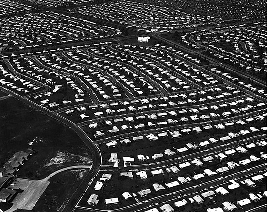 "Levittown, PA, site chosen by Malvina Reynolds in 1963 to illustrate the post-war tract housing that inspired ""Little Boxes on the Hillside""."